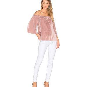 Revolve JOA off shoulder pleated fabric Blush top